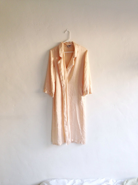 Свадьба - Vintage Robe - Pure Silk Peachy Off White Long Lingerie Robe