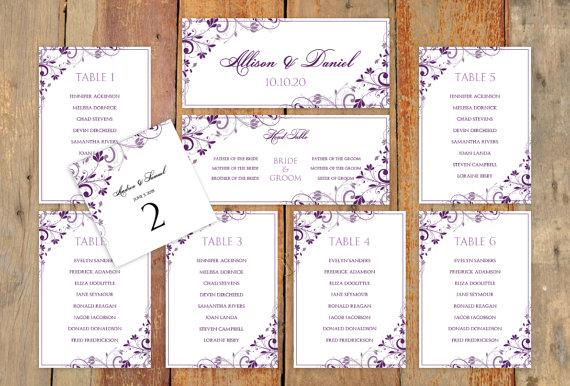 زفاف - Wedding Seating Chart Template - Download Instantly - EDIT YOUR WORDING -Chic Bouquet (Plum/Purple)  - Microsoft Word Format