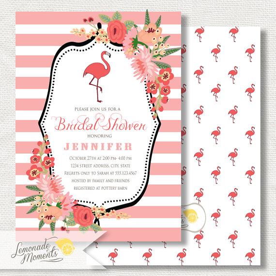 flamingo party invitation bridal shower printable flamingo