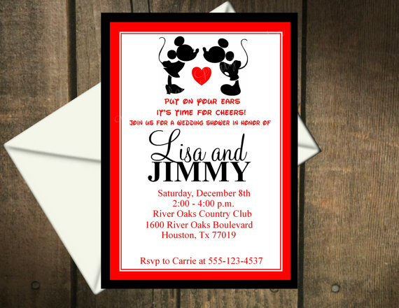 Mickey Mouse & Minnie Mouse Wedding Shower Invitation Printable File ...