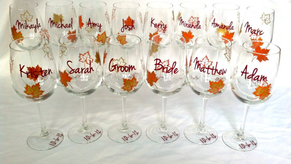 Fall Wedding Party Wine Glass Gold Brown And Burnt Orange Leaves