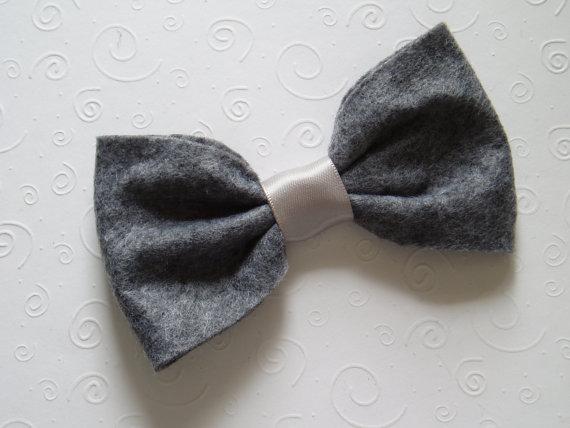 Свадьба - Dog Ring Bearer doggie Bow Tie bowtie Collar Attachment Pet Outfit DARK GREY gray costume formal wear, Clothing wedding formal