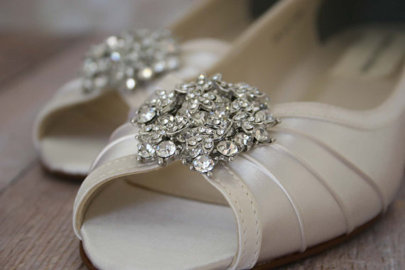 Свадьба - Wedding Shoes -- Ivory Peeptoe Wedge Wedding Shoes with Classic Rhinestone Cluster - CHOOSE YOUR COLOR