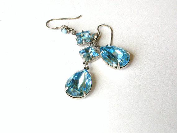Hochzeit - Swarovki Aquamarine Dangling Earrings on Silver - Victorian Jewelry - Angelina Jolie Inspired Earrings - Bridal Earrings