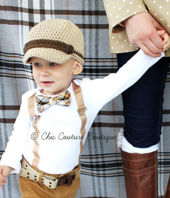 1d5da8ccd2090 Baby Boy Easter Spring Bow Tie & Suspenders Bodysuit. Brown, Tan, Chocolate  Plaid. Mustache Cake Smash 1st Birthday Outfit, Ring Bearer