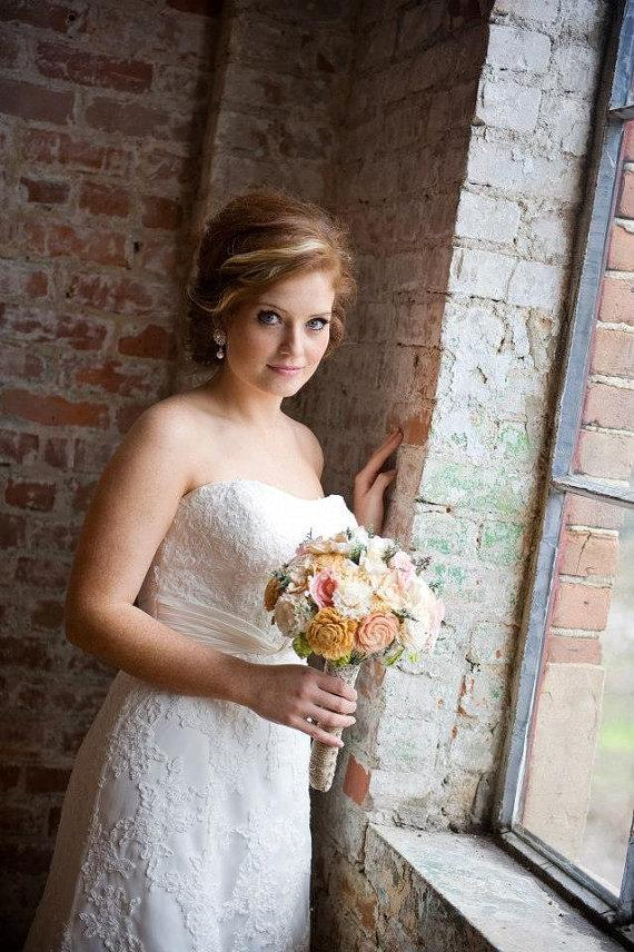 Hochzeit - Romantic Wedding Bouquet -Natural Bridal Bouquet, Keepsake Alternative Bouquet, Shabby Chic Rustic Wedding