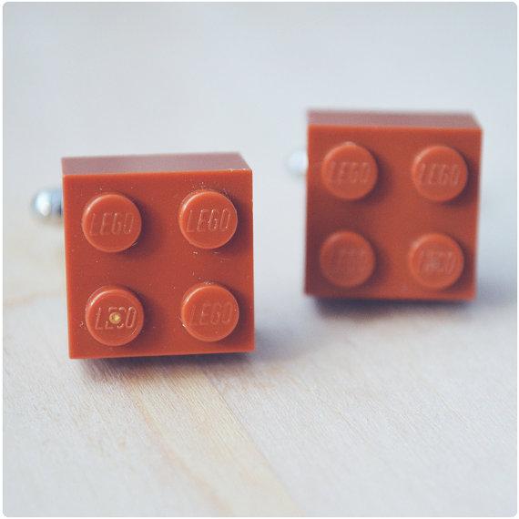 Hochzeit - Geeky Cufflinks With Lego Bricks - Brown Orange Cufflinks - Hipster Groomsmen Cuff Links