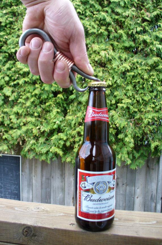 Hochzeit - FORGED BOTTLE OPENER  Hand forged and Signed by Blacksmith Naz , Groomsmen gift , Gifts for him , Gifts for Grooms