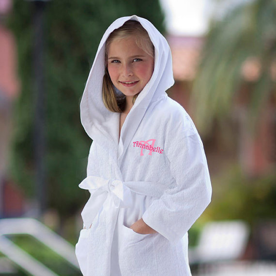 personalized kids hooded robe in terry cloth monogrammed with name and initial for flower girl