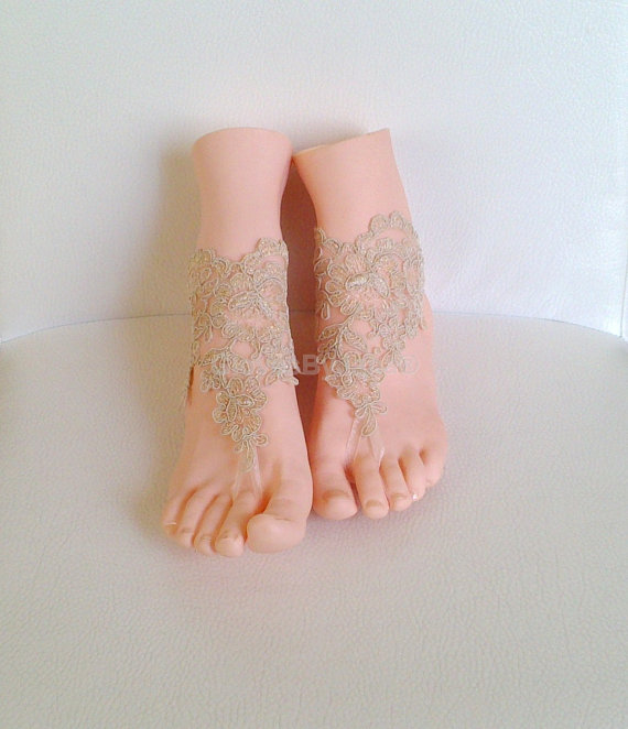 Hochzeit - Free ship wedding shoe cappuccino gothic barefoot sandals wedding prom party steampunk bangle beach anklets bangles bridal bride bridesmaid
