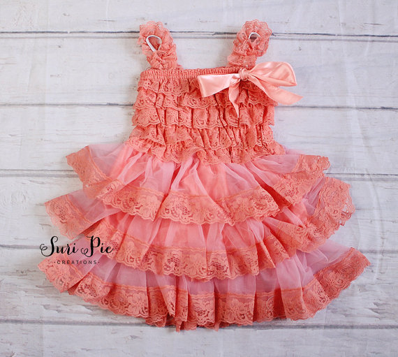 Wedding - Coral Flower Girl Dress Headband Set..birthday outfit..Ivory tutu dress.tea party.Coral.newborn coming Home Lace Dress..fairy tutu dress