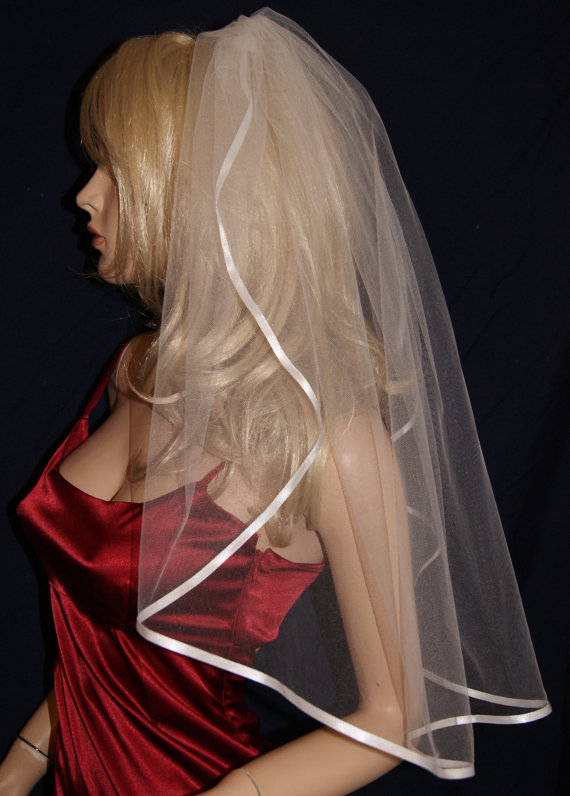 """Mariage - Wedding Veil Elbow length Black Red Purple Pink Silver Burgundy Ivory Beige Single Tier 54"""" Width 26"""" Length Ribbon Edge 19 colors available"""