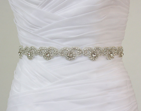 Sierra ready to ship rhinestone bridal belt wedding for Wedding dress belt sash