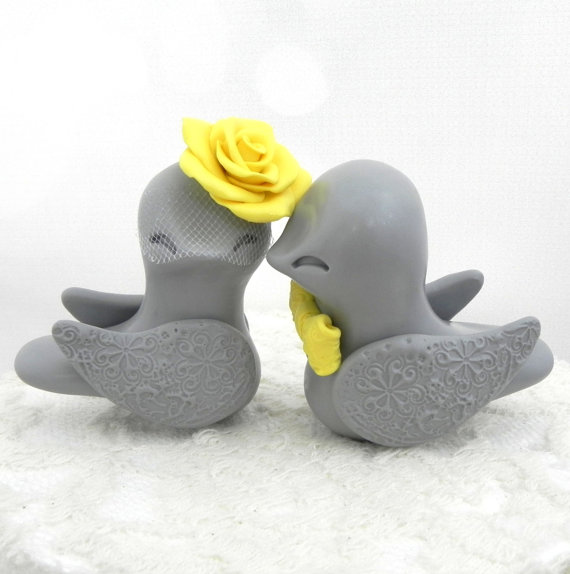 Lovebirds Wedding Cake Topper, Grey And Sunny Yellow, Bride And ...