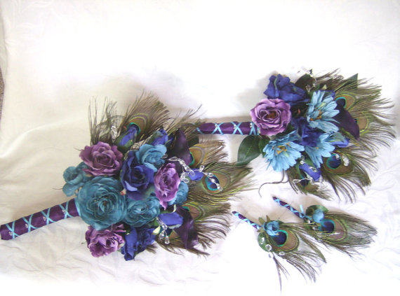 Peacock feather wedding bouquet turquoise purple eggplant silk peacock feather wedding bouquet turquoise purple eggplant silk flowers feather bridal bouquet and boutonniere set mightylinksfo