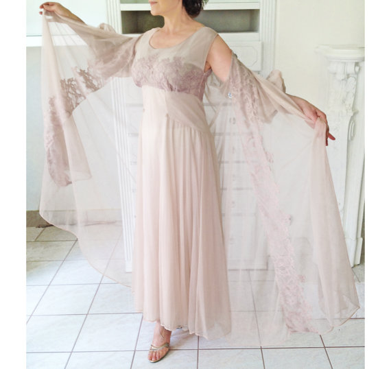 Свадьба - Reserved for Chris-1950s-Early 60s Chiffon and Lace Peignoir Set, Soft Dusty Rose/Taupe Nightgown & Matching Robe, Lingerie, Negligee