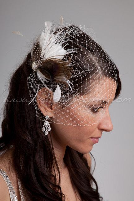 Mariage - Bridal Birdcage Veil Set, Mini Veil with Feather Head Piece, Wedding Veil, Birdcage Feather Fascinator