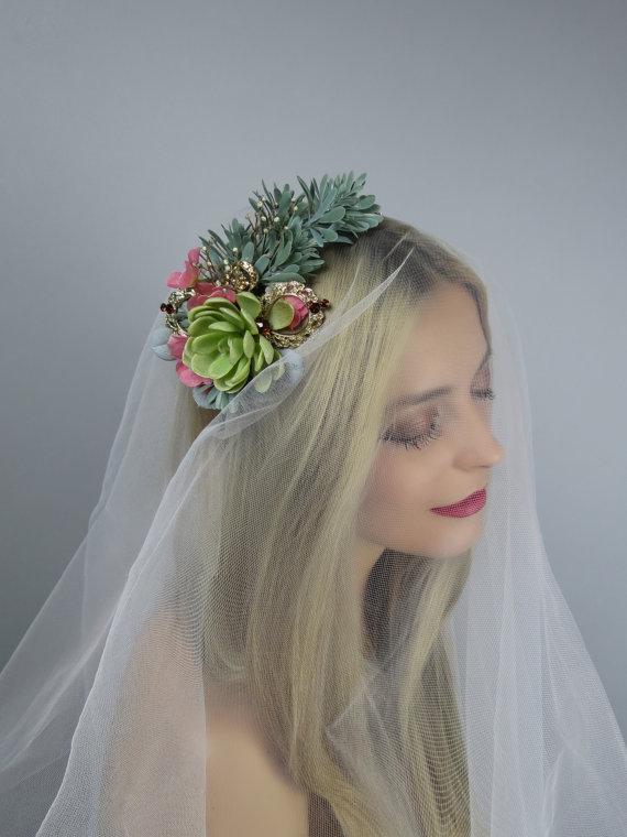 Bridal headband succulent plant wedding accessory silk flowers bridal headband succulent plant wedding accessory silk flowers bridal accessory wedding hedband mightylinksfo