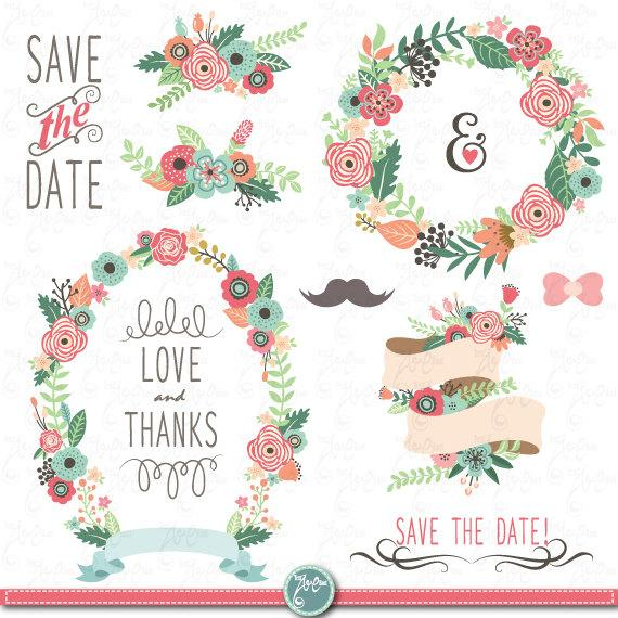 "Wedding - Wedding Clipart pack ""WEDDING FLORA"" clip art,Vintage Flowers,Floral Frames,Wreath,Wedding, Save the date, invitation,Instant Download Wd054"