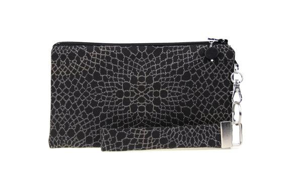 زفاف - Formal black clutch for bridesmaids gift - charcoal evening bag for wedding - dark gray small purse for women - handmade fabric bag