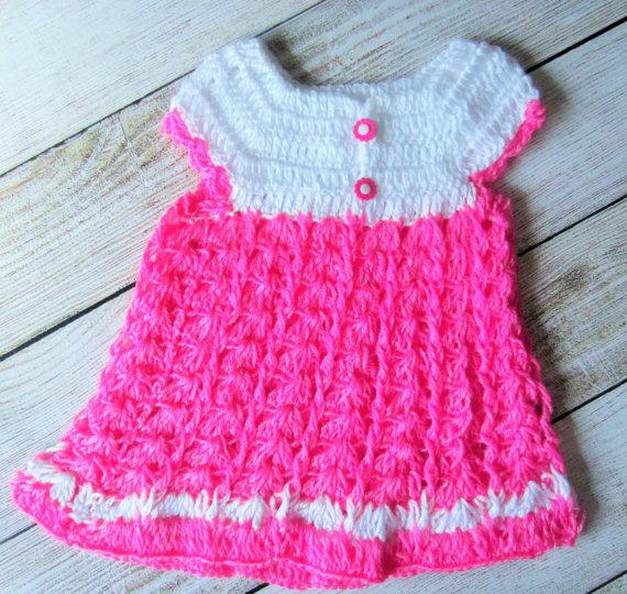 Wedding - Hot pink baby girl dress, baby crochet dress, summer dress, easter dress, photo prop, flower girl dress