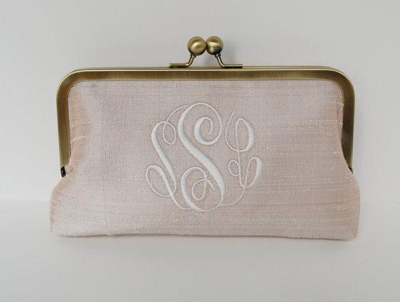Mariage - Personalized brides , bridesmaid clutch, monogrammed wedding clutch,  custom silk clutch, bridesmaid gift