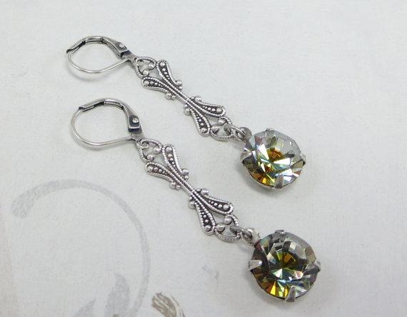 زفاف - Sea Green Blue Topaz Earrings Dangles Vtg Swarovski Romance du Matin Art Deco Nouveau Downton Abbey Bridal Wedding Elegant Holiday Jewelry
