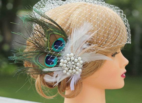 Mariage - Peacock Birdcage Veil-Large Jewel Fascinator, Wedding Headpiece