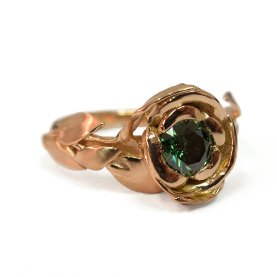 Rose Engagement Ring No 1 18K Rose Gold And Green Diamond