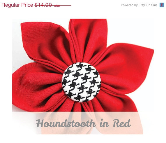 Свадьба - ON SALE Red Houndstooth Dog Collar Flower - Classic Houndstooth