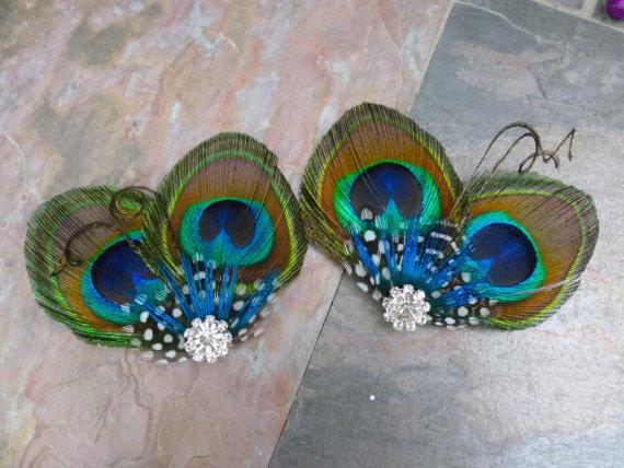 Mariage - Peacock shoe clips, Customizable