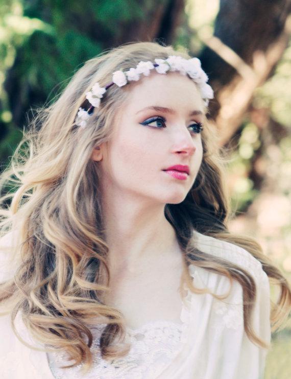 Wedding Flower Bridal Hair Accessory White Roses Hair