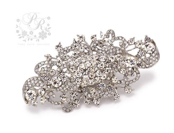 Mariage - Wedding Brooch Rhinestone Brooch Bridal brooch Wedding accessories bridal accessory Wedding Jewelry Bridal Jewelry Rhinestone Brooch Ivy