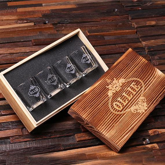 Wedding - Personalized Shot Glasses (4) with Wood Box Groomsmen, Best Man, Man Cave Gift Barware (024967)