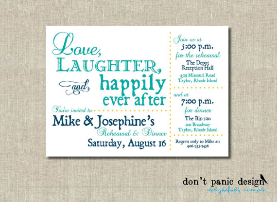 picture relating to Printable Rehearsal Dinner Invitations named Printable Rehearsal Evening meal Invitation - Appreciate, Laughter