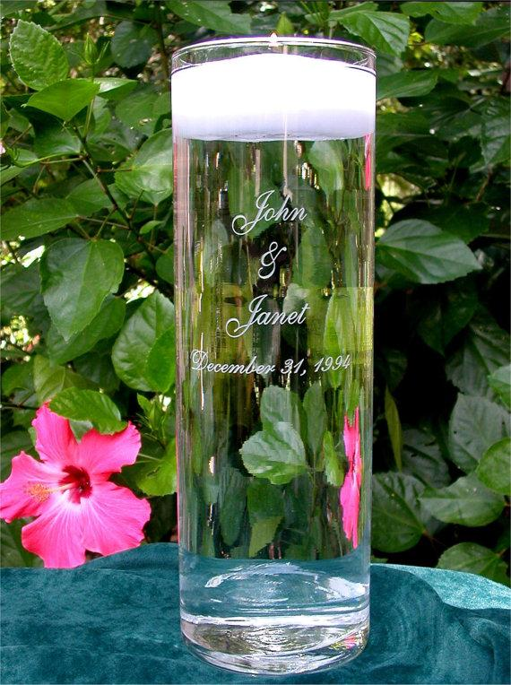 زفاف - Personalized Wedding Floating Unity Candle and Vase