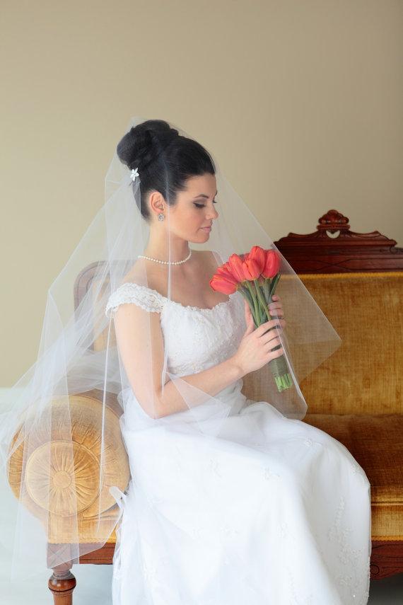 زفاف - Fingertip plain cut veil, bridal veil