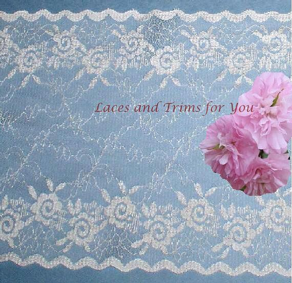 Свадьба - White Lace Trim 2 Yds Vintage Bridal Galloon 7-1/4 inch wide Fabric Trim P42 More Ship FREE