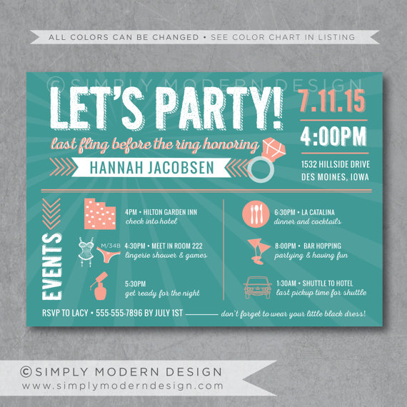 bachelorette party invitation wedding timeline bachelorette party