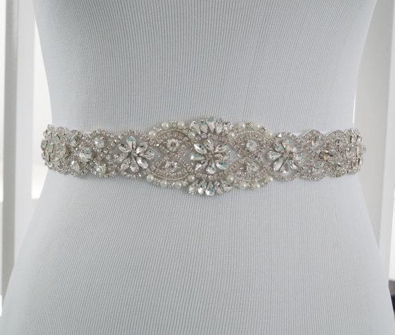 Mariage - Wedding Sash Belt, Bridal Belt, Sash Belt, Wedding Dress Sash, Crystal Rhinestone Belt, Style 159