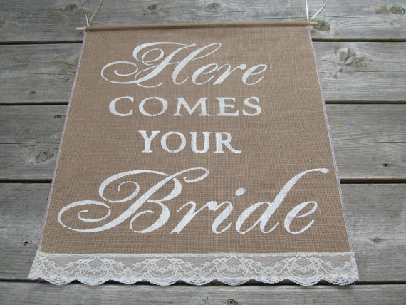 Large Here Comes Your Bride Sign