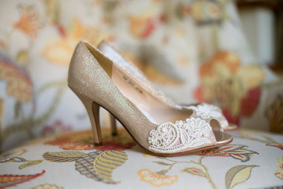 b8f0982d9a3d0 Wedding Shoes Gold Champagne Silver Metallic Peep Toe High Heels ...