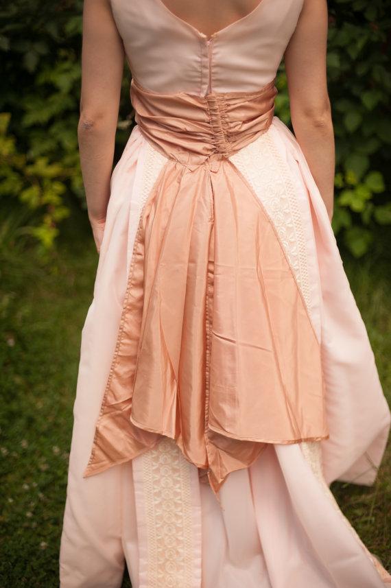 Mariage - Vintage Wedding Sash - Vintage Mauve Pink with Train