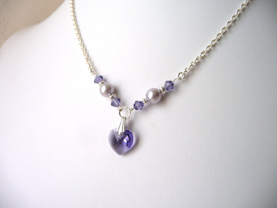 Flower Girl Jewelry Purple Crystal Heart Necklace Pearl Necklace