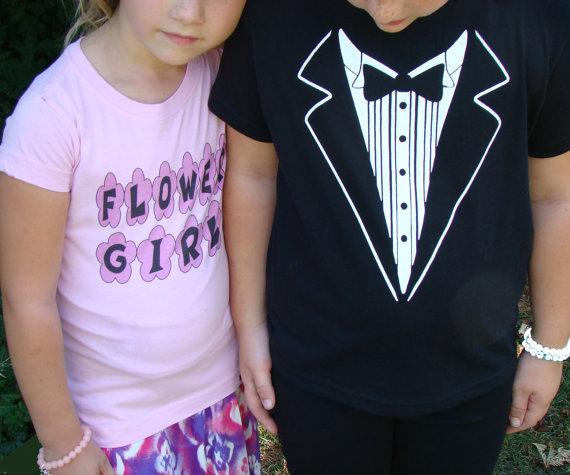 Свадьба - Childrens Wedding Tuxedo/ RING SECURITY  Tshirt -Child size Tux shirt- Free US shipping -Ringbearer Rehearsal Shirt - super cute