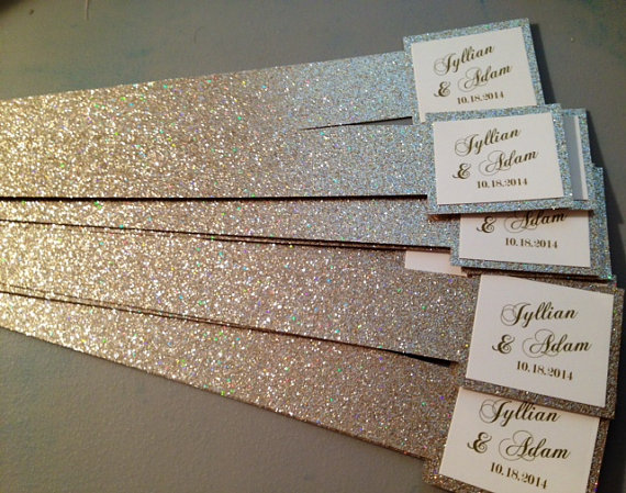 Glitter Belly Bands For Wedding Invitations With Name Tag