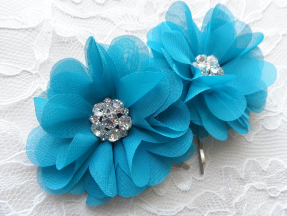 Mariage - Turquoise / Teal Chiffon Hair Flowers  / Hair Clips Rhinestone Center / Wedding Accessories / Bridesmaids / Shoe Clips / Set of Two.