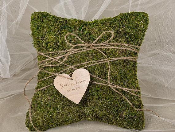 Moss Rustic Wedding Pillow Moss Ring Bearer Pillow Moss Ring