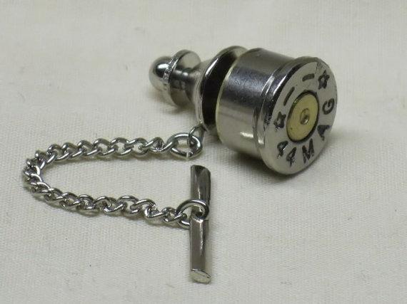 زفاف - Bullet Tie Tack Clutch and Chain - Starline 44 Remington Magnum Nickel - Wedding Gifts for Groomsmen