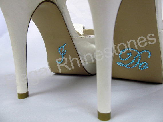 Wedding - I Do Shoe Stickers - AQUA SCRIPT Rhinestone I Do Wedding Shoe Appliques - Rhinestone I Do Shoe Decals for your Bridal Shoes
